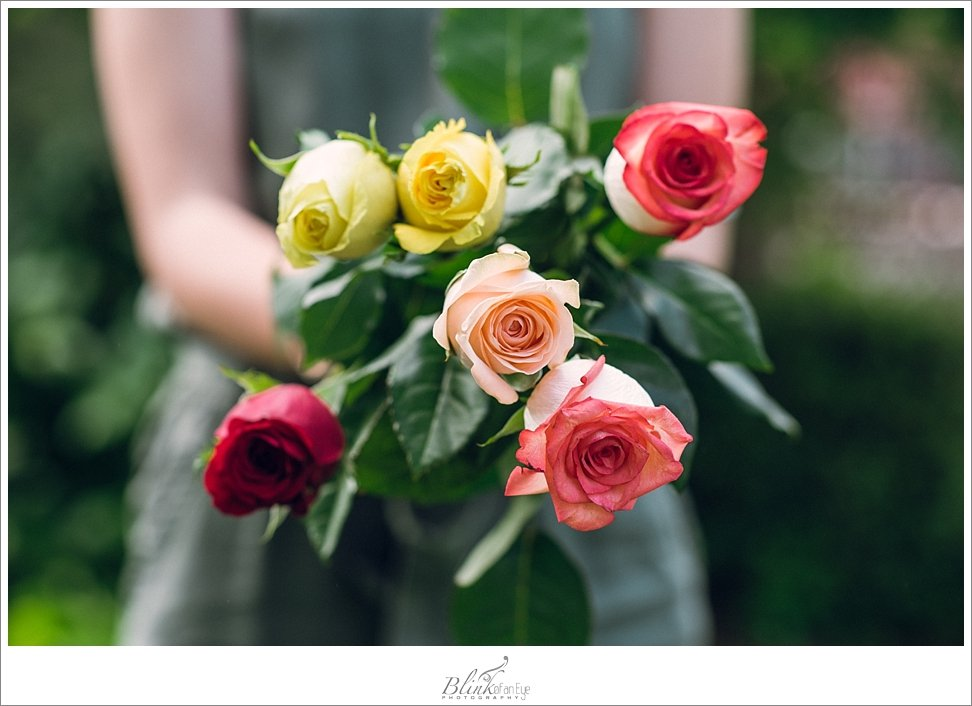 Beautiful Mother's Day roses in yellow, coral and peach.