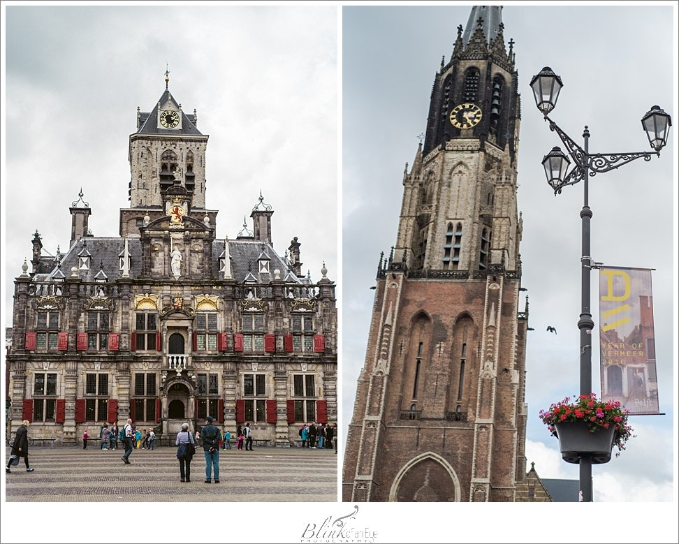 Town Hall and New Church in downtown Delft