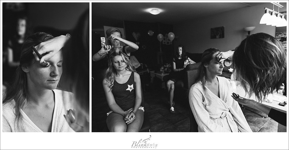 Bride and her sister getting ready for the Delft wedding.