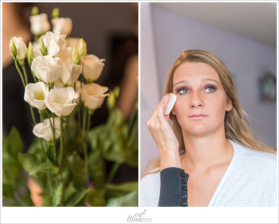 Beautiful flower and a bride being made up before her wedding in Delft.