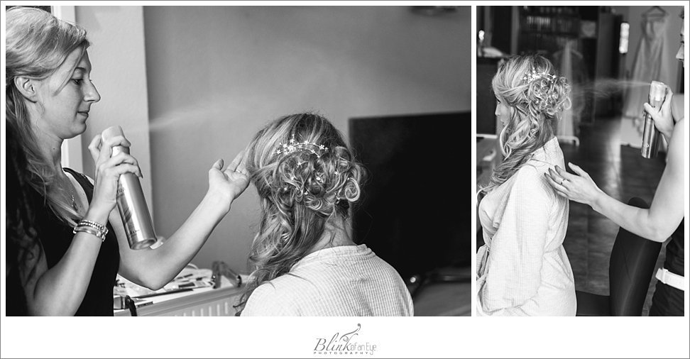 The hairdresser putting the last touches on the bride's hair on her wedding day in Delft.