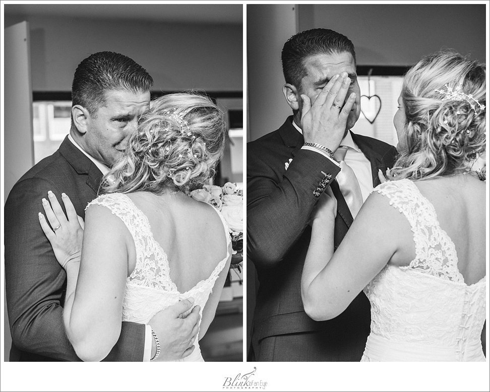 Groom cries when he sees his bride.