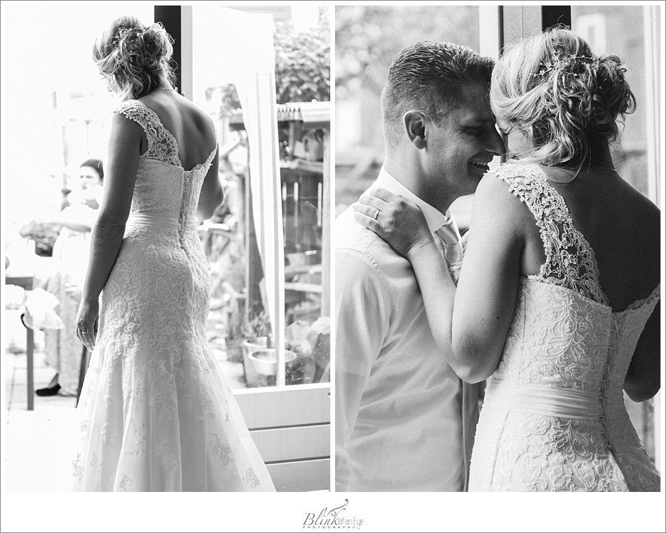 Intimate shots of the bride and groom in black and white.
