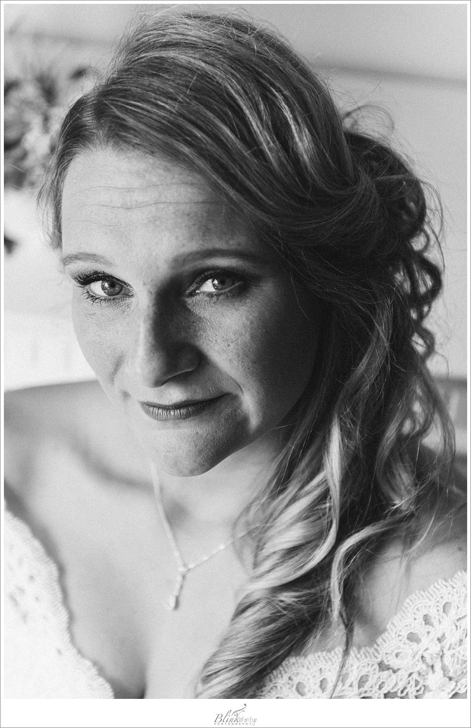 Beautiful bridal portrait of the bride in black and white on her wedding day.