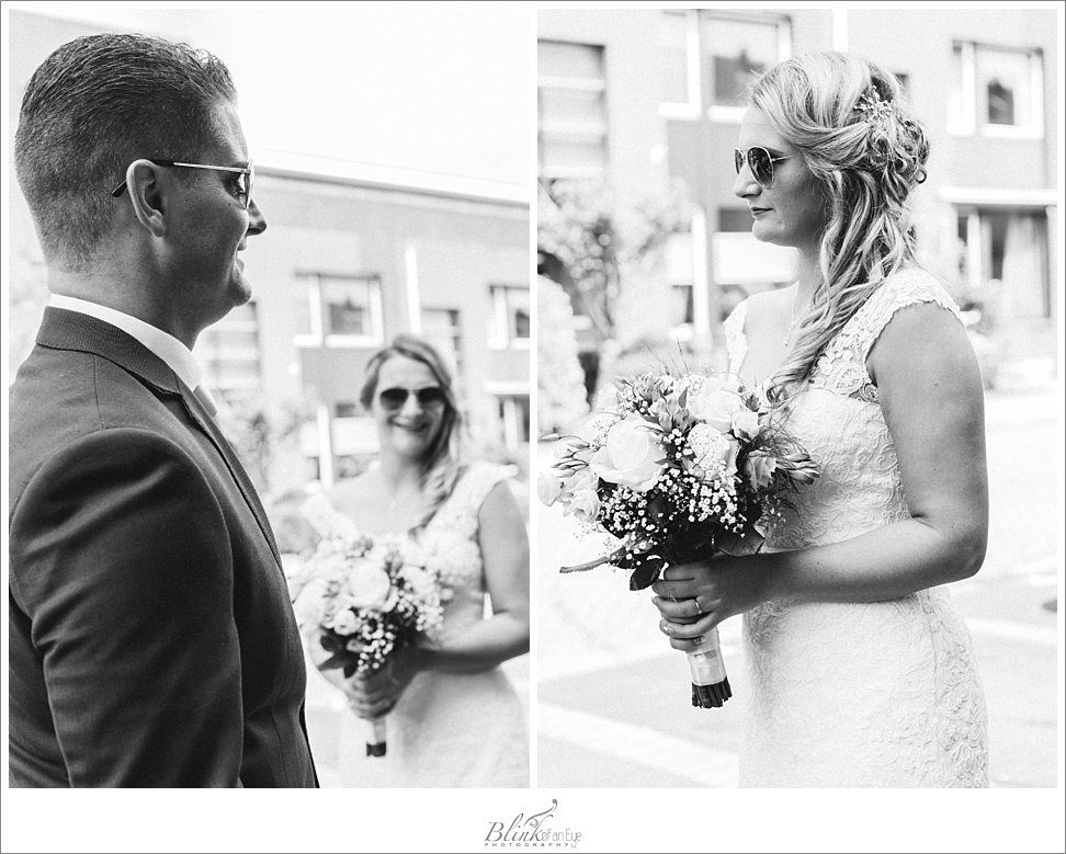 Shots of bride and groom wearing sunglasses.