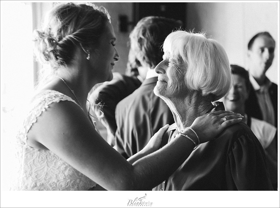 A beautiful black and white photo of the bride with her grandmother.