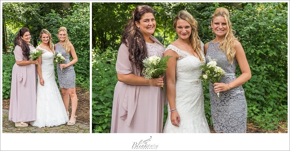 Bride photographed with her sisters after her wedding in Delft.