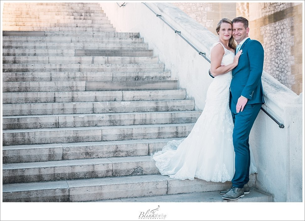 On the steps of the Notre Dame de la Garde with the Bride and Groom.