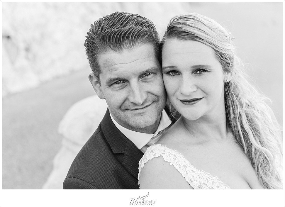 Gorgeous black & white photograph of the bride and groom during a post wedding photo shoot in France.