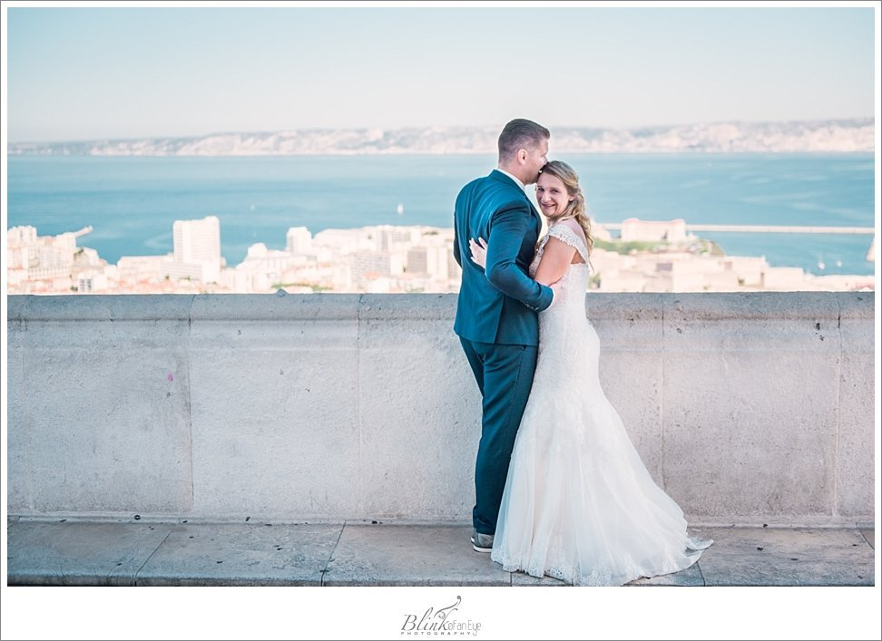 Sunny day in Marseille, France with the bride and groom.