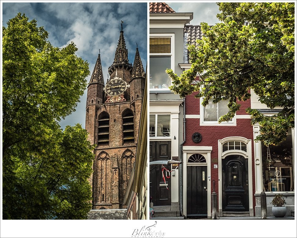 A view of the Oude Kerk and a narrow Dutch house in Delft.