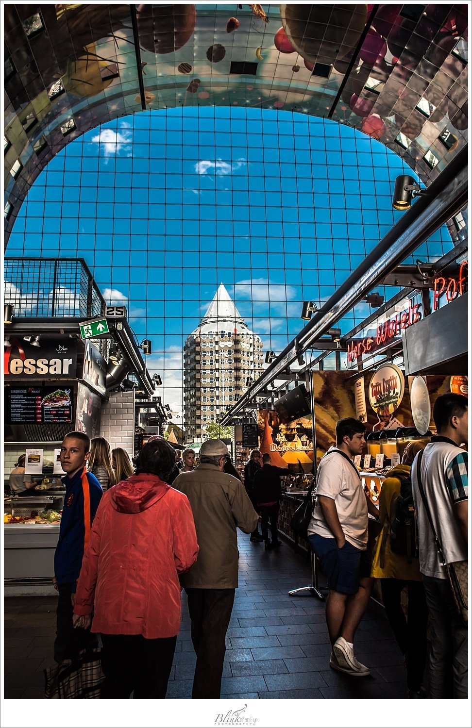View from inside the Markthal in Rotterdam.