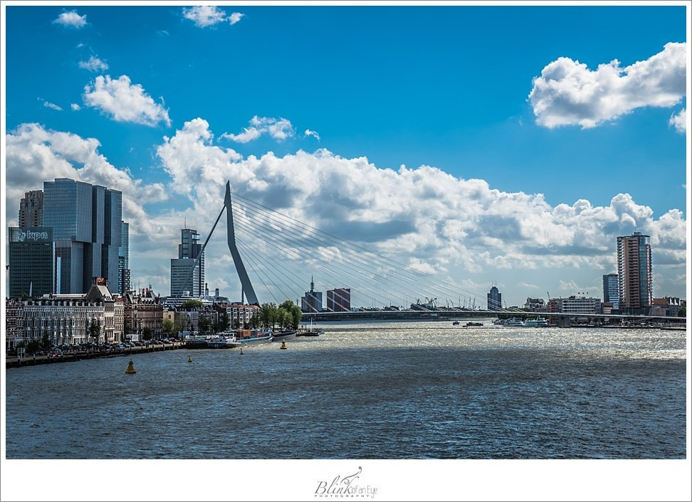 View of Erasmusbrug from Willemsbrug in Rotterdam.