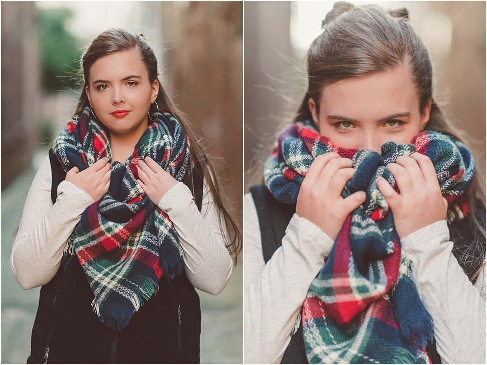 Gorgeous blanket scarf highlighted in senior session.