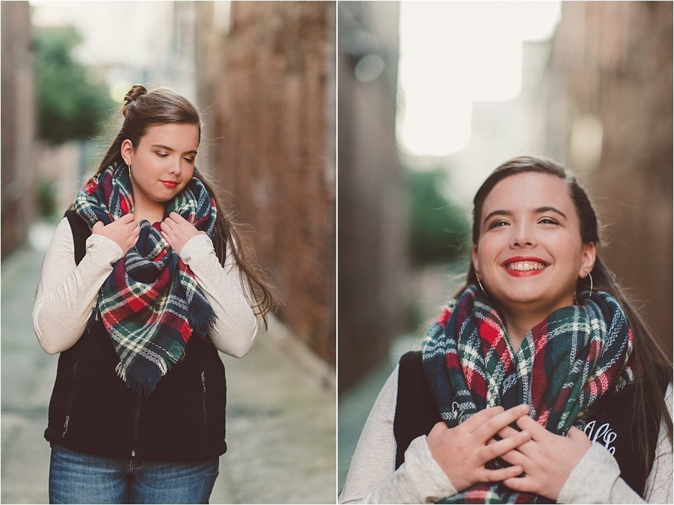 Lovely Beauty Revived senior rocks the blanket scarf and red lips.