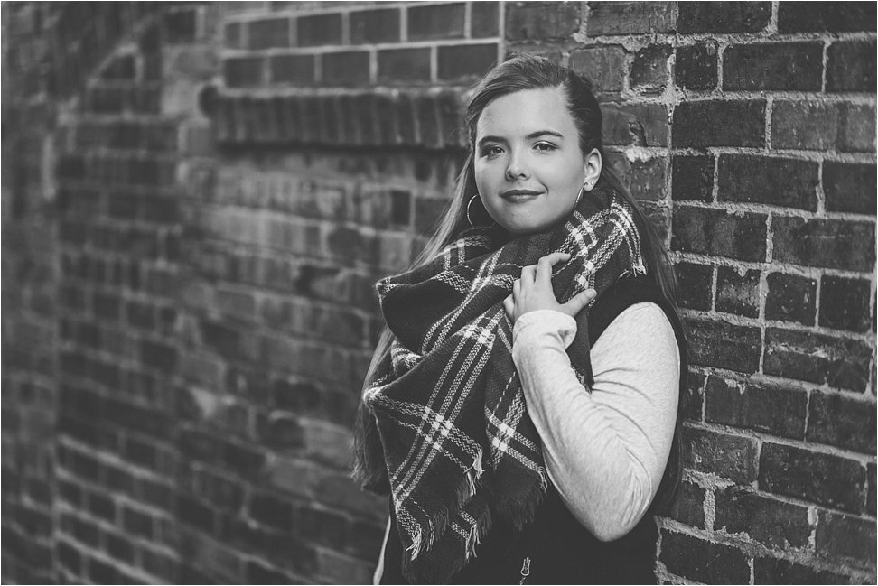 Gorgeous black and white photos of Beauty Revived Senior in downtown Burlington, NC.