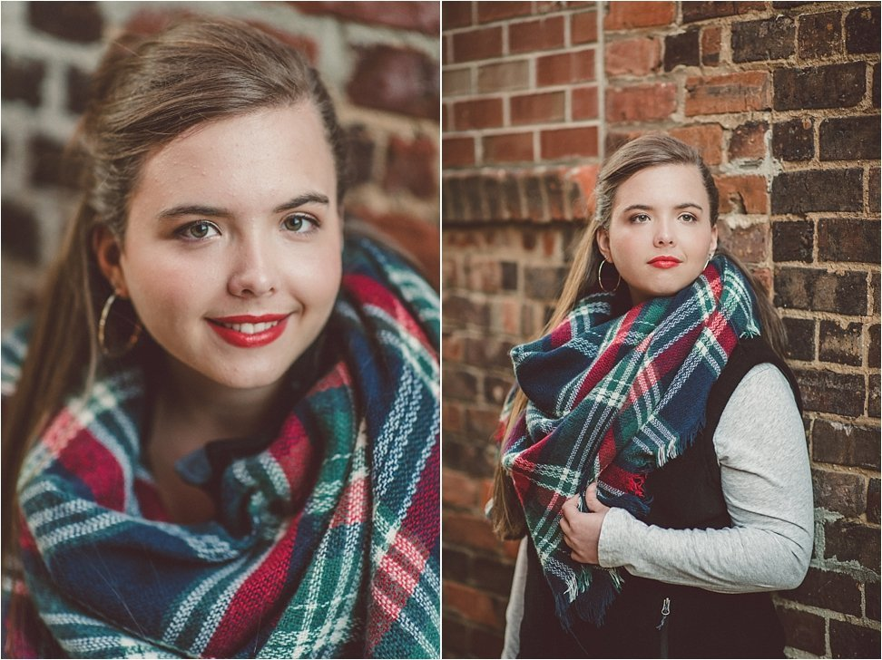 Blanket Scarf and red lips are the perfect accents in this senior session photo.