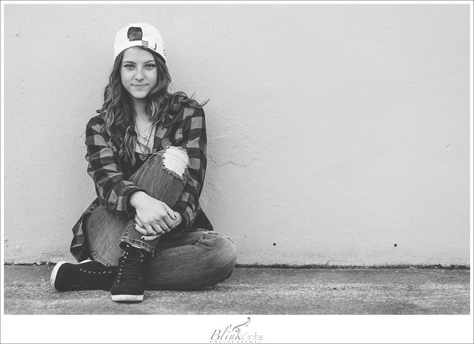 Awesome black and white senior portrait showcasing hipster style.
