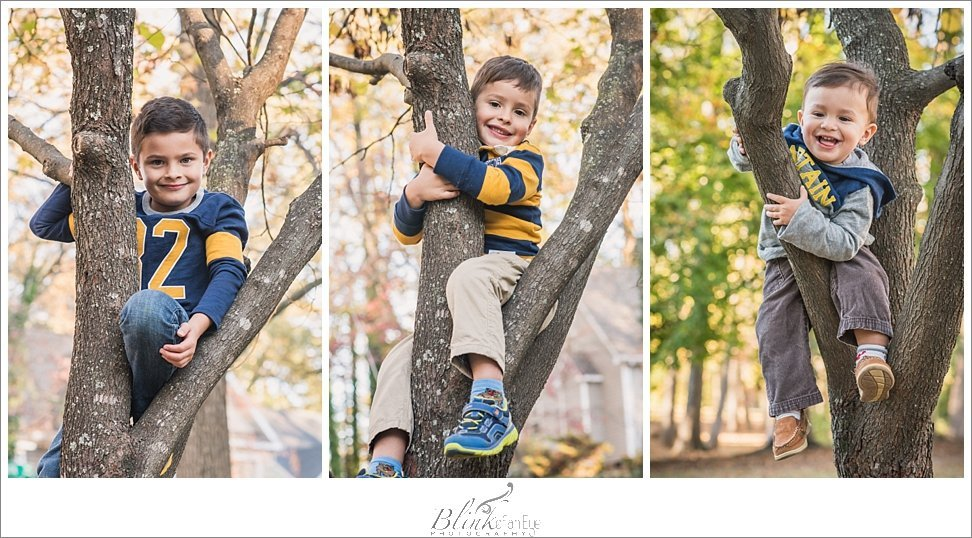 Boys all want a pose in the tree located in Greensboro, NC.