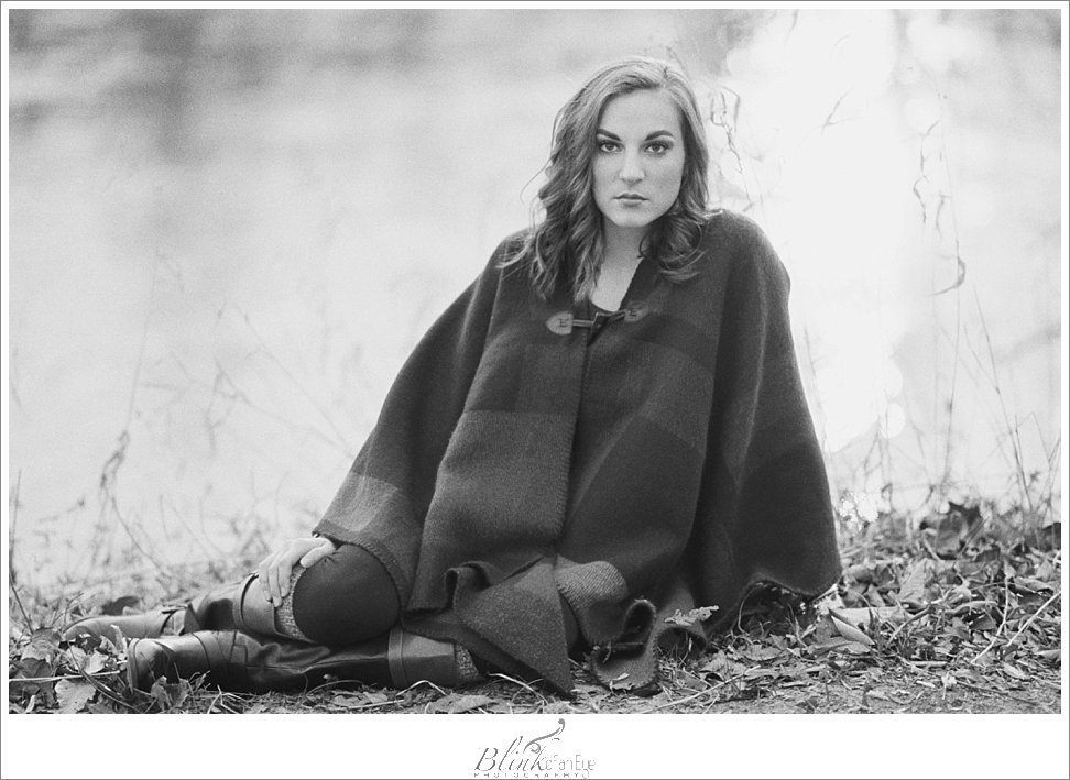 Dreamy black and white film portrait by the Haw River.