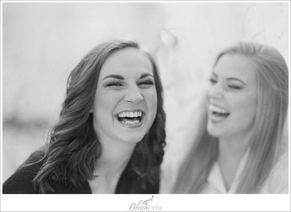 Laughter captured with black and white film.