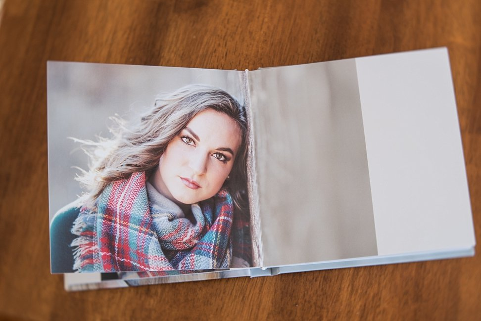 Spread from the Beautiful Album of model in film session.