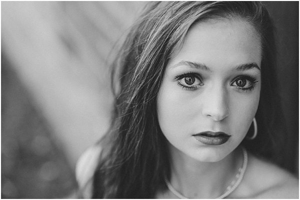 Old world glamour in beautiful black and white senior portrait.