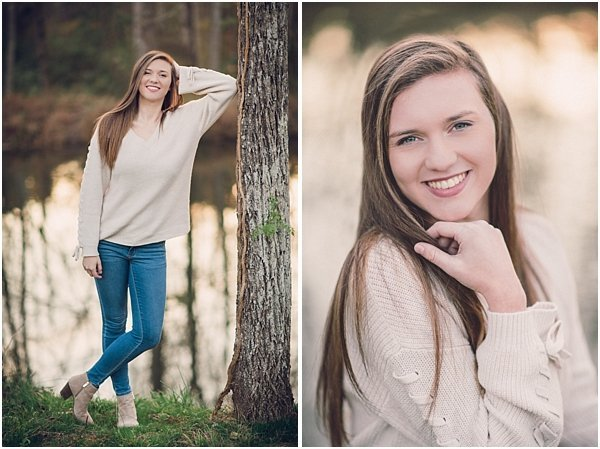 Beautiful golden lighting in these fall portraits near the Haw River.