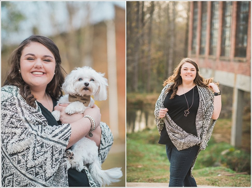 Posing with the pooch during senior session in Burlington, NC.