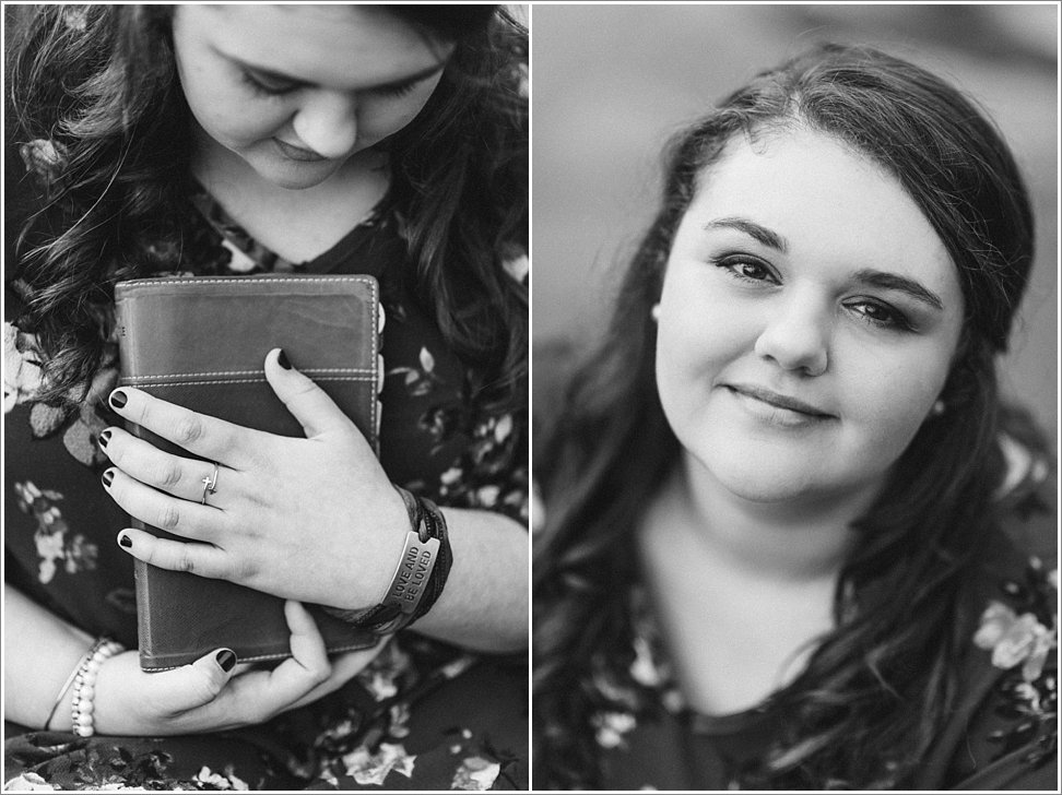 God's love radiates from this young woman's senior session by the Haw River in NC.