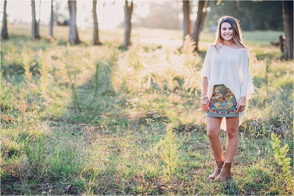 Senior session in a country field in NC.