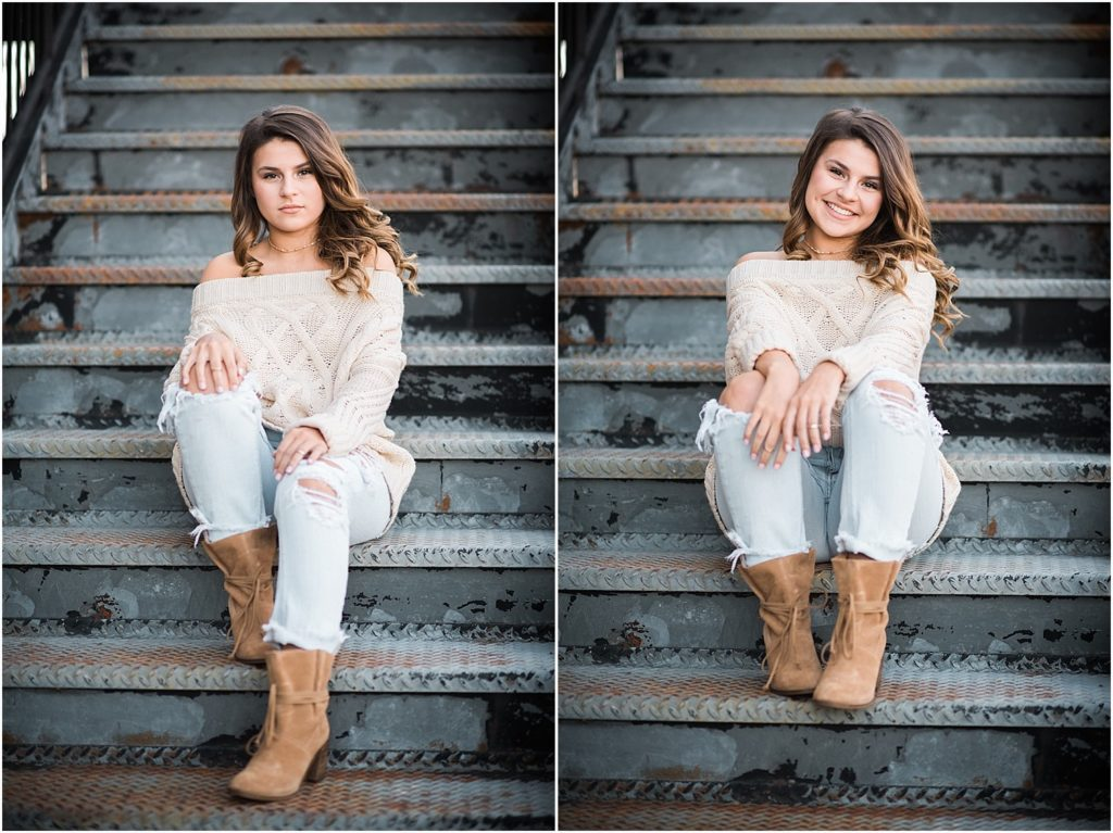 Fun urban senior session in Mebane, NC.