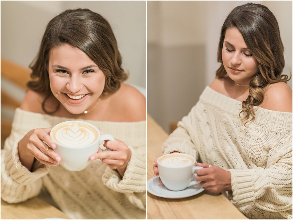 This senior wanted to incorporate her love of coffee with these fun photos take in Filament Coffee and Tea in downtown Mebane, NC.