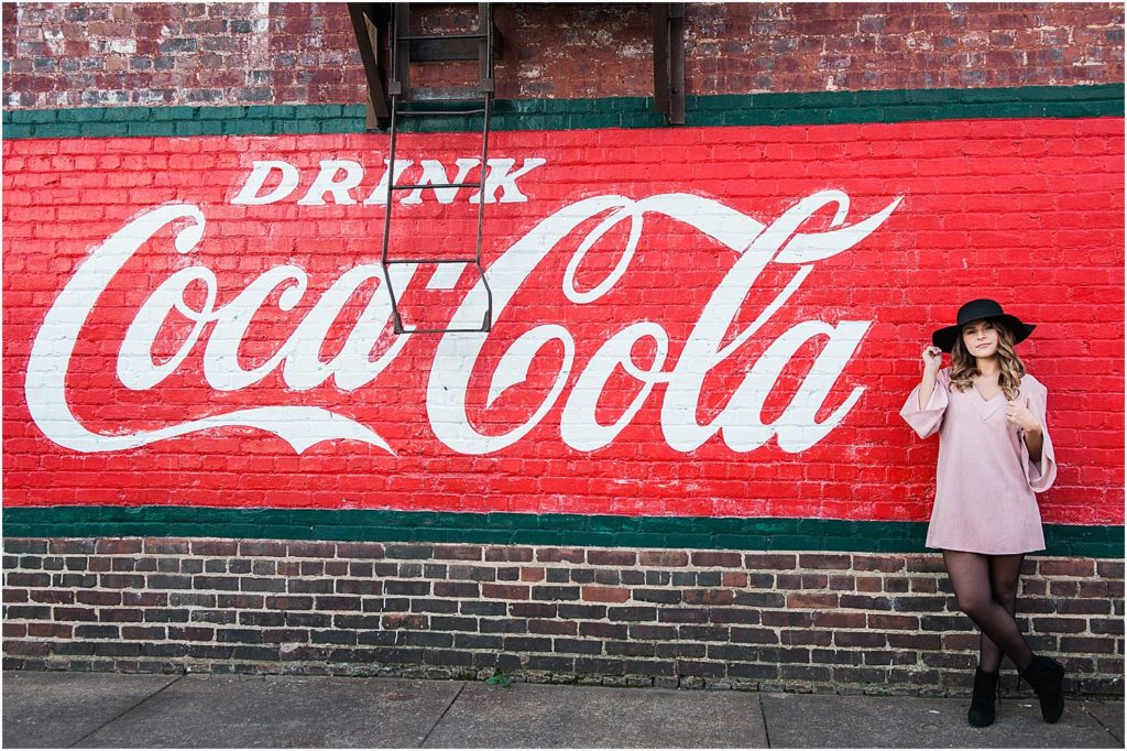 It doesn't get more urban than posing in front of the freshly painted Coca-Cola mural in Mebane, NC.