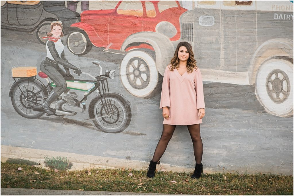 Senior makes use of awesome urban mural in downtown Mebane, NC.