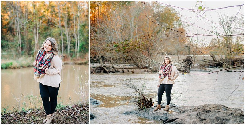 Fall senior session by the Haw River at Glencoe.