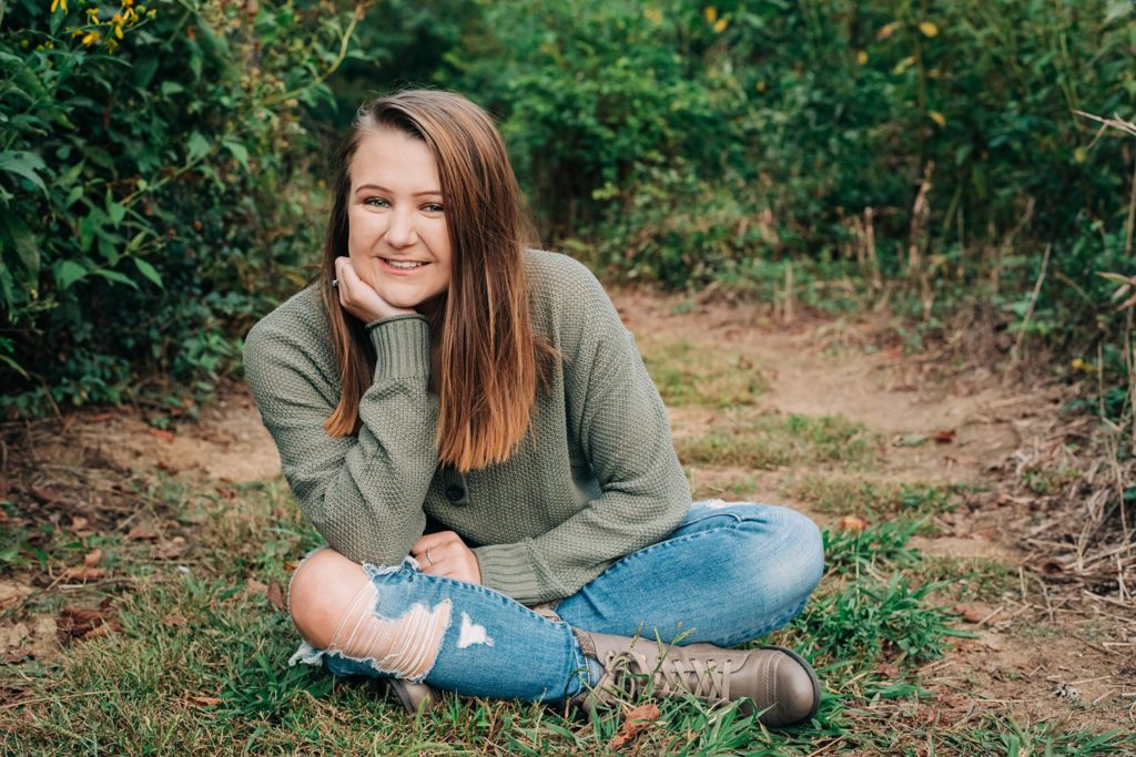 Cute senior portrait taken near the Haw River in NC.